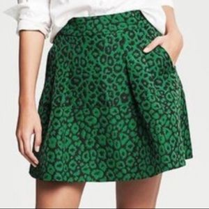 Banana Republic Emerald Green Leopard Print Skirt